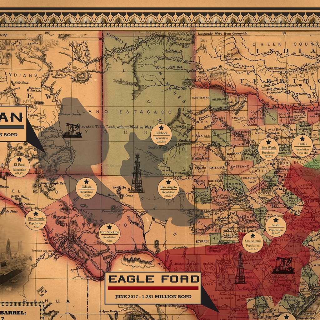 Vintage Texas Spindletop Shale Oil Map   Shale Maps Pro - Vintage Texas Map
