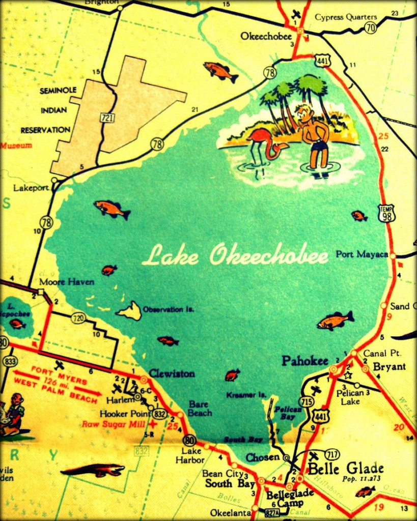 Vintage Vacation Maps - Google Search | Cookie Connection Contest #1 - Fishing Map Of Lake Okeechobee Florida