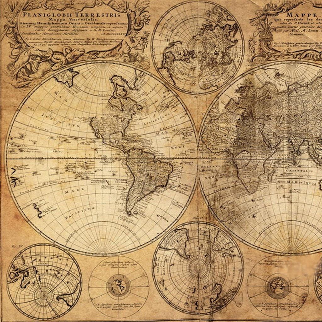 Vintage World Map Canvas Print - Vintage World Map Printable