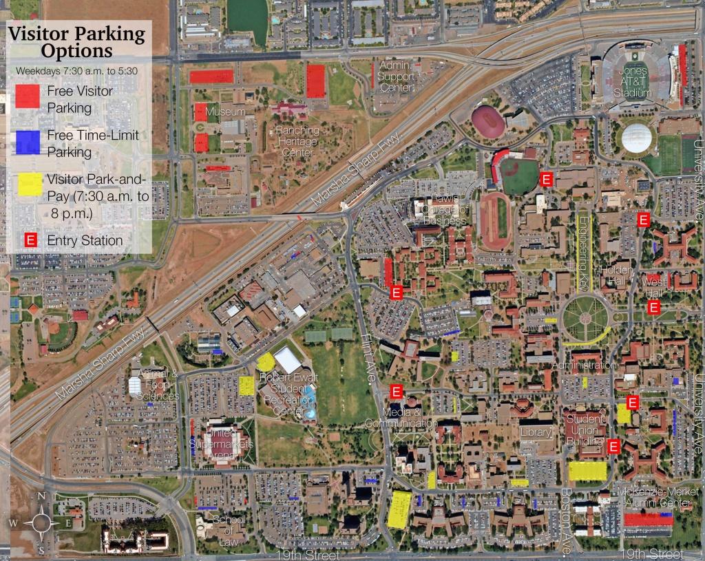Visitor Parking Map   Transportation & Parking Services   Ttu - Texas Tech Housing Map