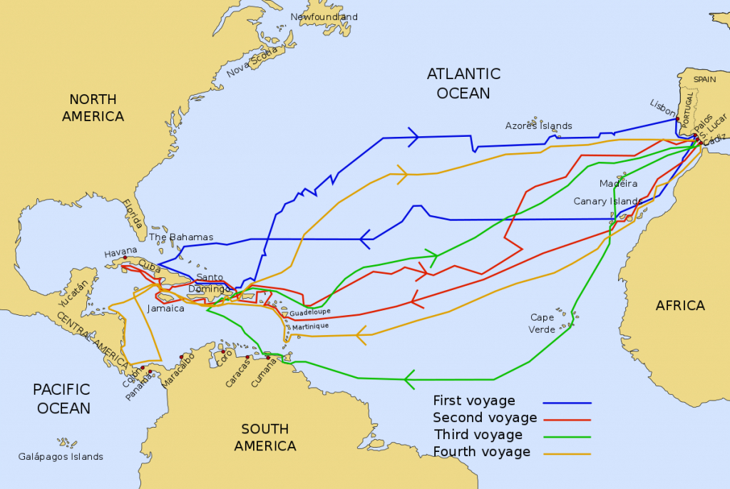 Voyages Of Christopher Columbus - Wikipedia - Printable Map Of Christopher Columbus Voyages