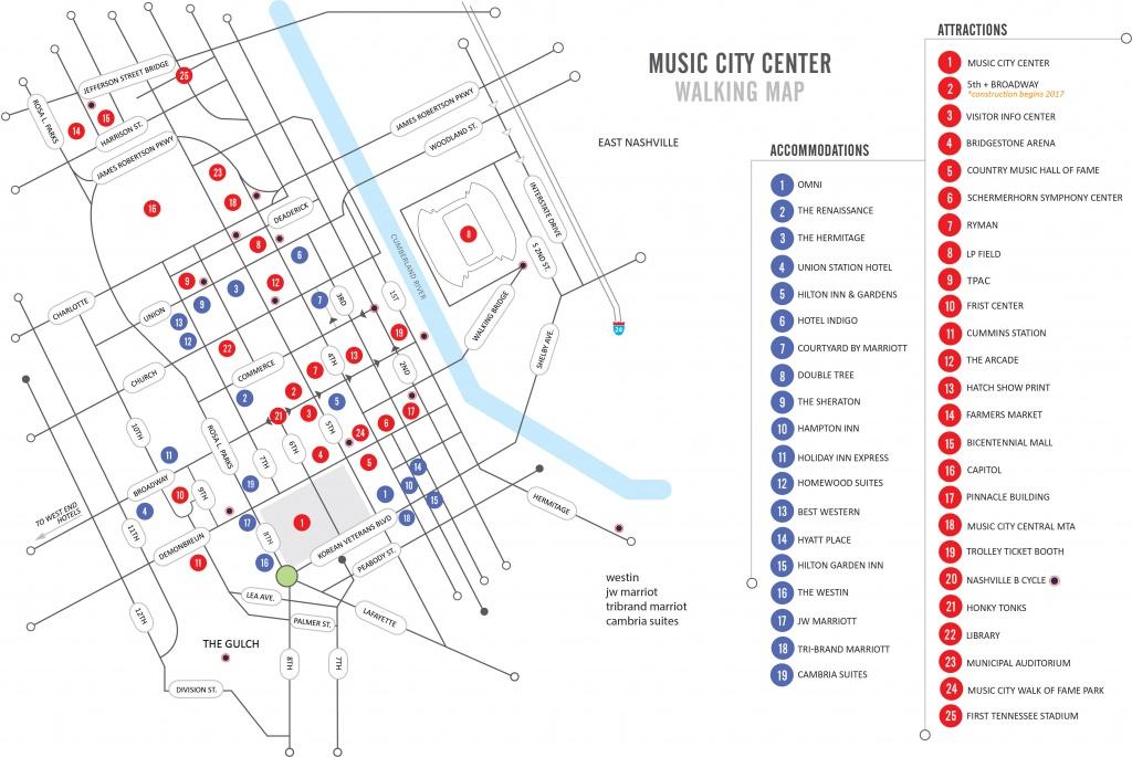Walking Map   Nashvillemusiccitycenter - Printable Map Of Nashville Tn