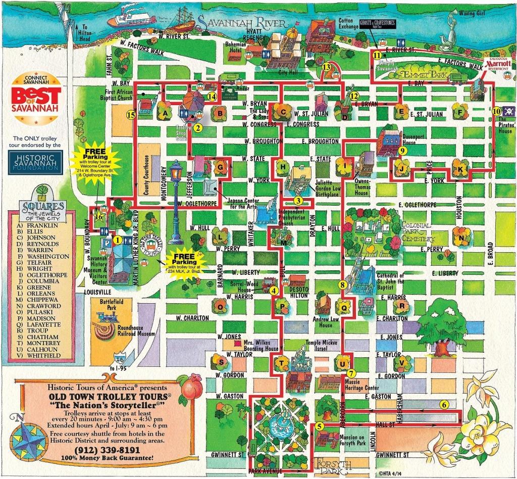 Walking Map Savannah Historic District | Map For Savannah Georgia - Printable Map Of Savannah Ga