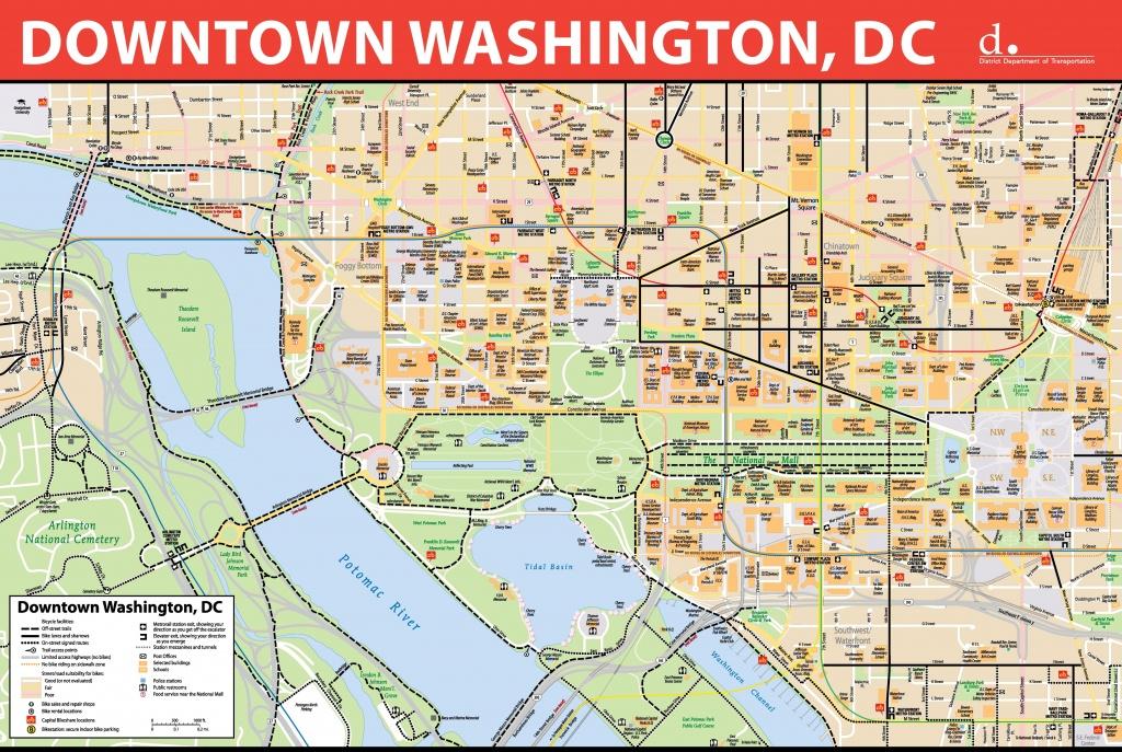 Washington, D.c. Downtown Bike Map - Printable Map Of Downtown Dc