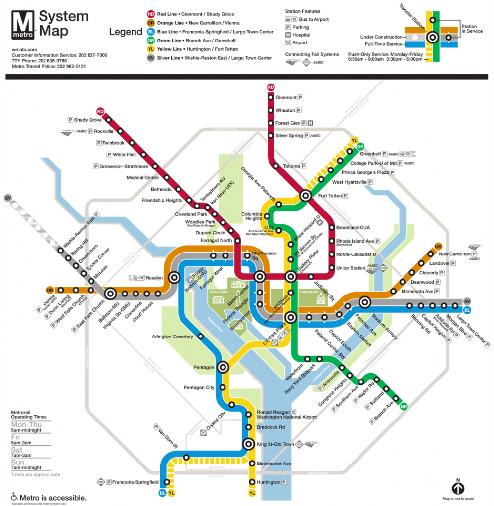 Washington, D.c. Subway Map | Rand - Printable Metro Map Of Washington Dc