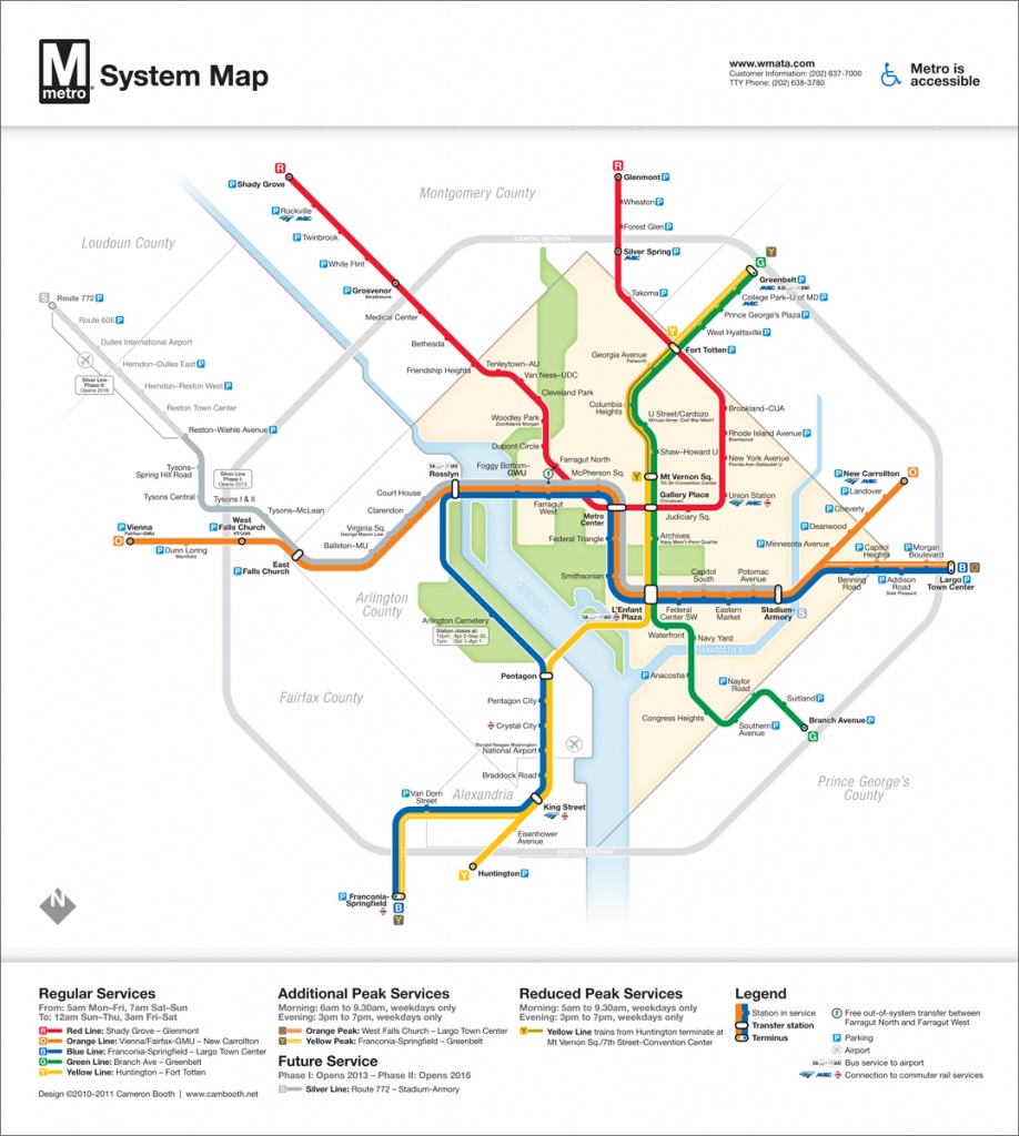 Washington Dc – Cameron Booth - Printable Metro Map Of Washington Dc