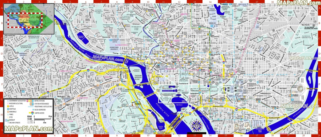 Washington Dc Maps - Top Tourist Attractions - Free, Printable City - Printable Street Maps