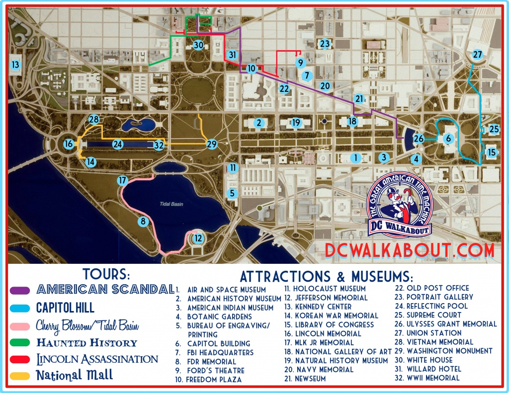 Washington Dc Tourist Map | Tours & Attractions | Dc Walkabout - Printable Map Of Washington Dc Sites