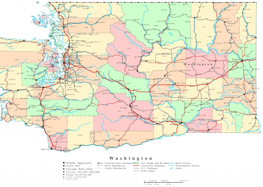 Washington Printable Map - Washington State Road Map Printable
