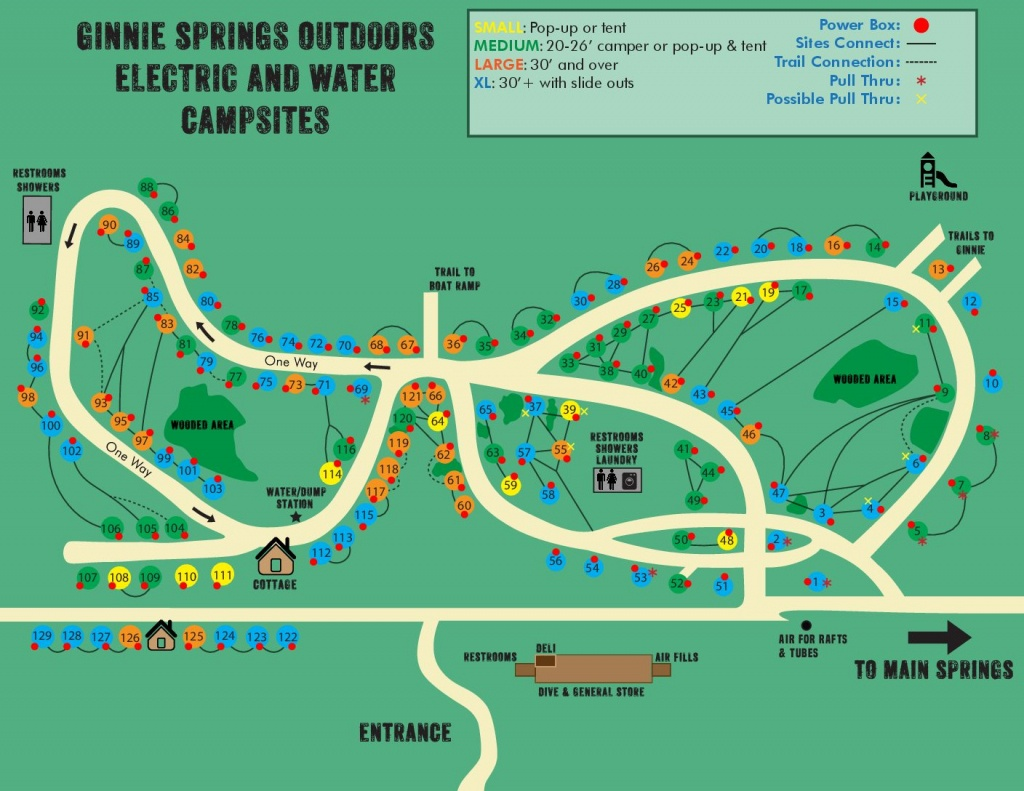 Water & Electric Sites | Ginnie Springs Outdoors | High Springs, Fl - Map Of All Springs In Florida