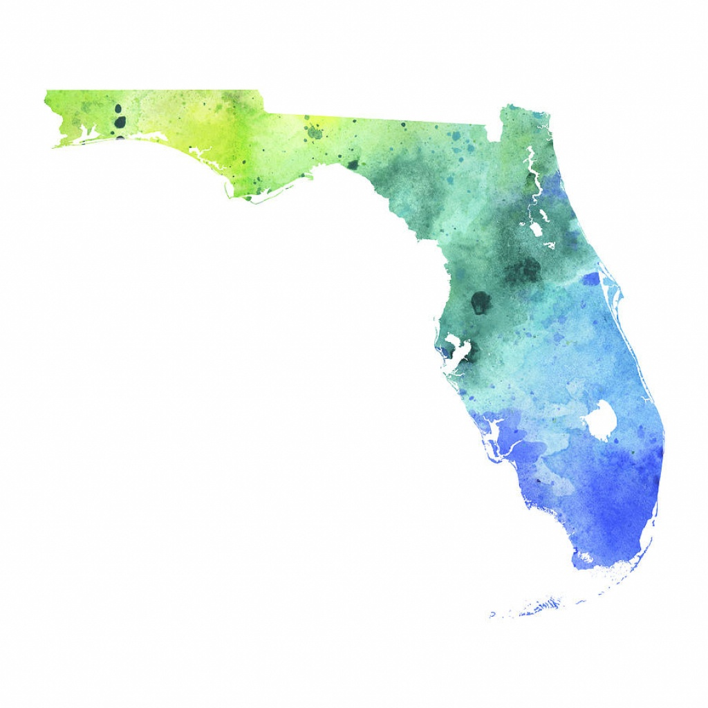 Watercolor Map Of Florida, In Blue And Green Paintingandrea Hill - Watercolor Florida Map