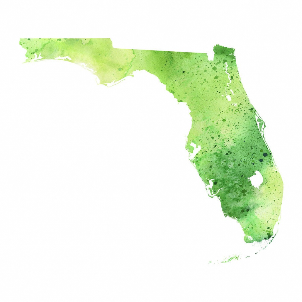Watercolor Map Of Florida, In Green Paintingandrea Hill - Where Is Watercolor Florida On A Map