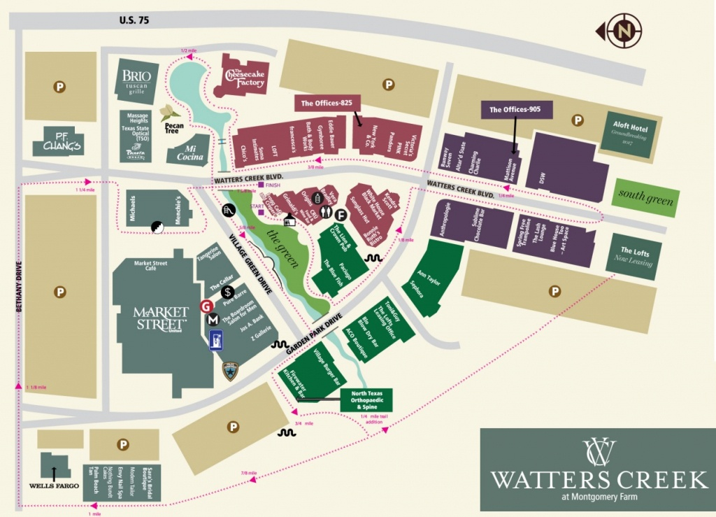 Watters Creek At Montgomery Farm (70 Stores) - Shopping In Allen - Allen Texas Outlet Mall Map
