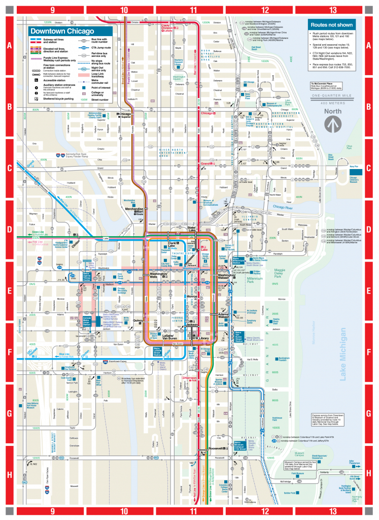 Web-Based Downtown Map - Cta - Chicago Loop Map Printable