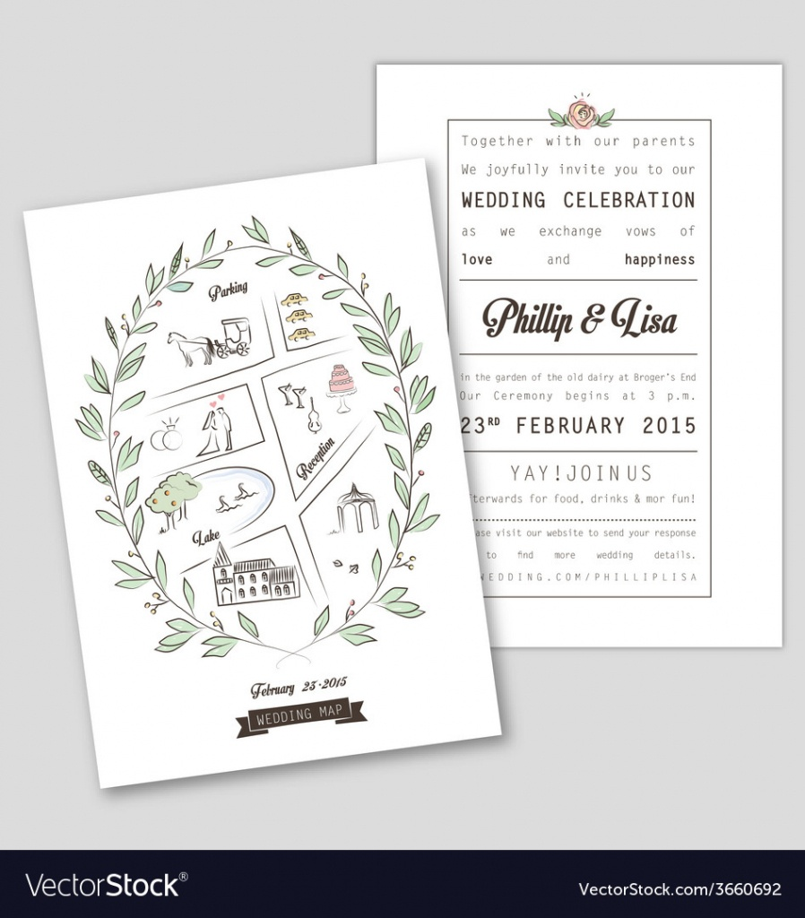 Wedding Invitation Template With Map Royalty Free Vector - Free Printable Wedding Maps