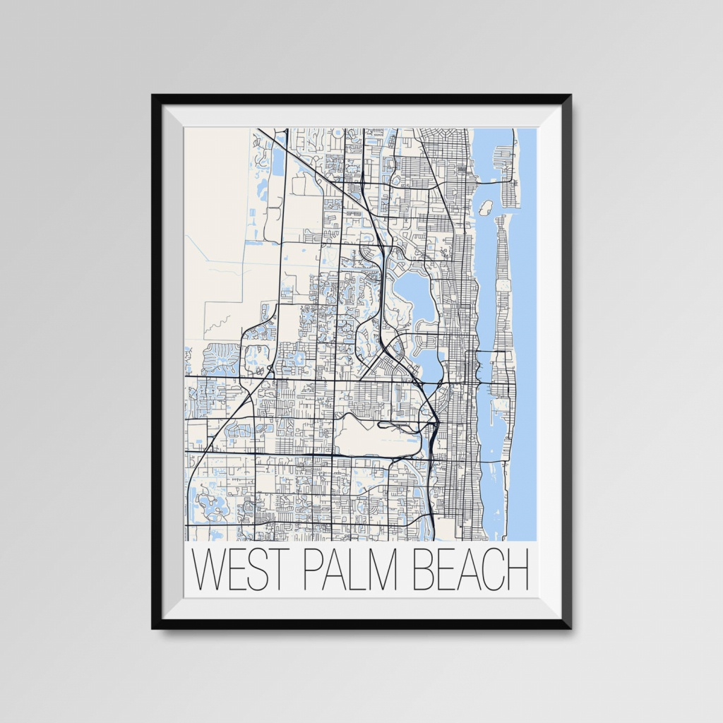 West Palm Beach Florida Map West Palm Beach City Map Print | Etsy - Palm Beach Florida Map