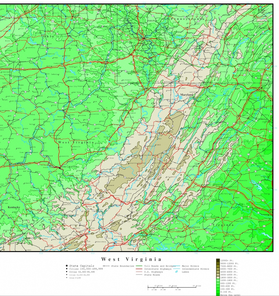 West Virginia Elevation Map - Jefferson County Texas Elevation Map