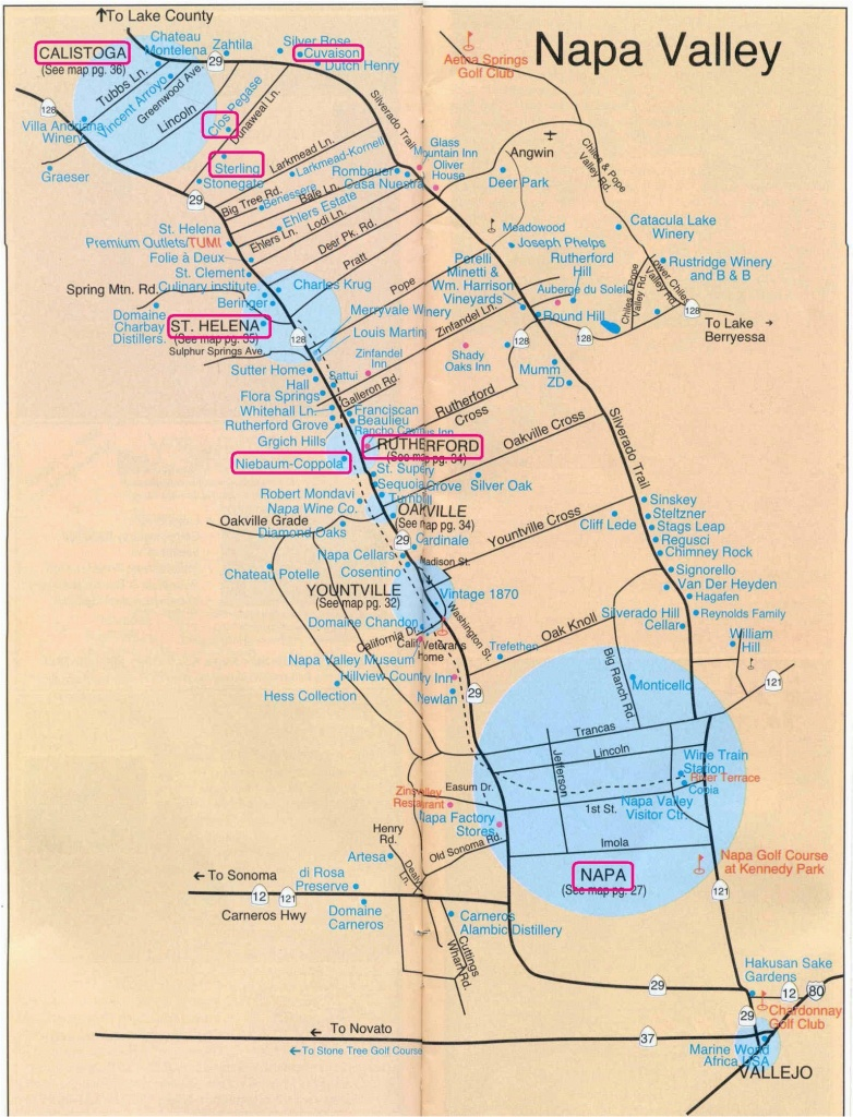Where Is Yountville California On The Map Printable Napa Wine Map - Where Is Yountville California On The Map