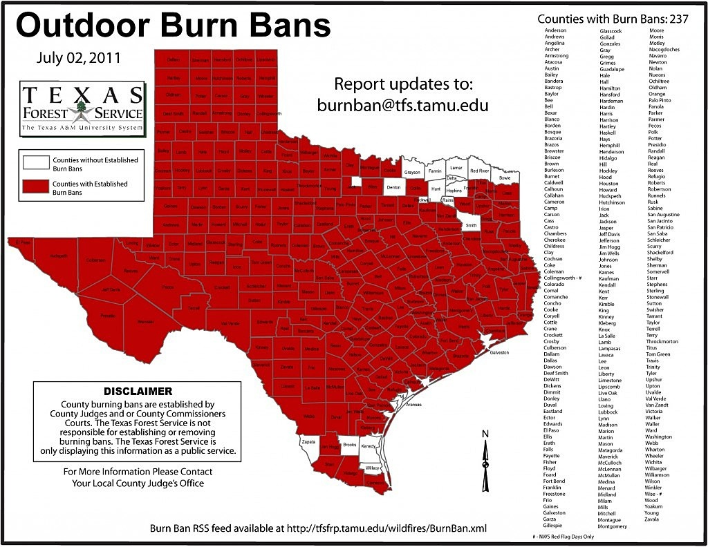 Where You Can And Can't Shoot Fireworks In Texas [Pic] - Texas Burn Ban Map