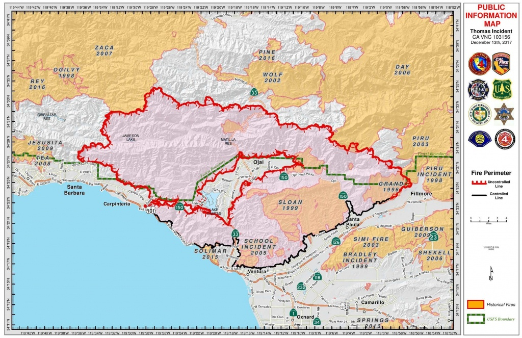 While Jerry Brown Claims 'climate Change' Is The Source Of The - Map Of Thomas Fire In California
