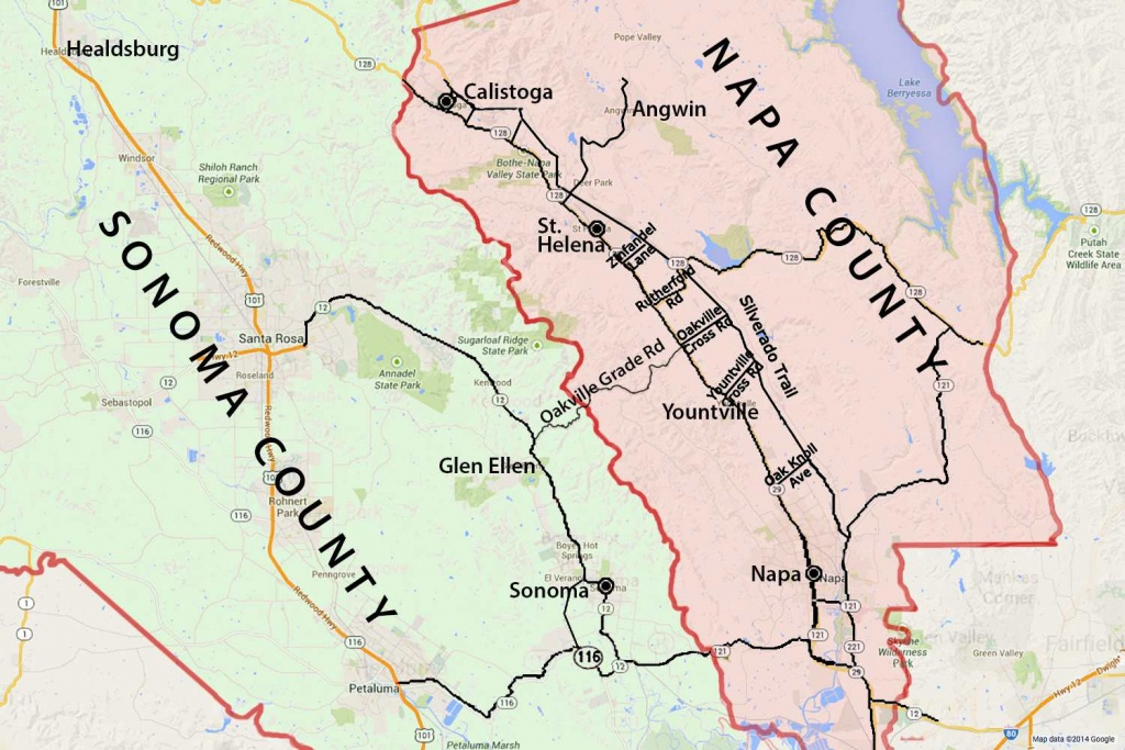 Wine Country Map: Sonoma And Napa Valley - Where Is Yountville California On The Map