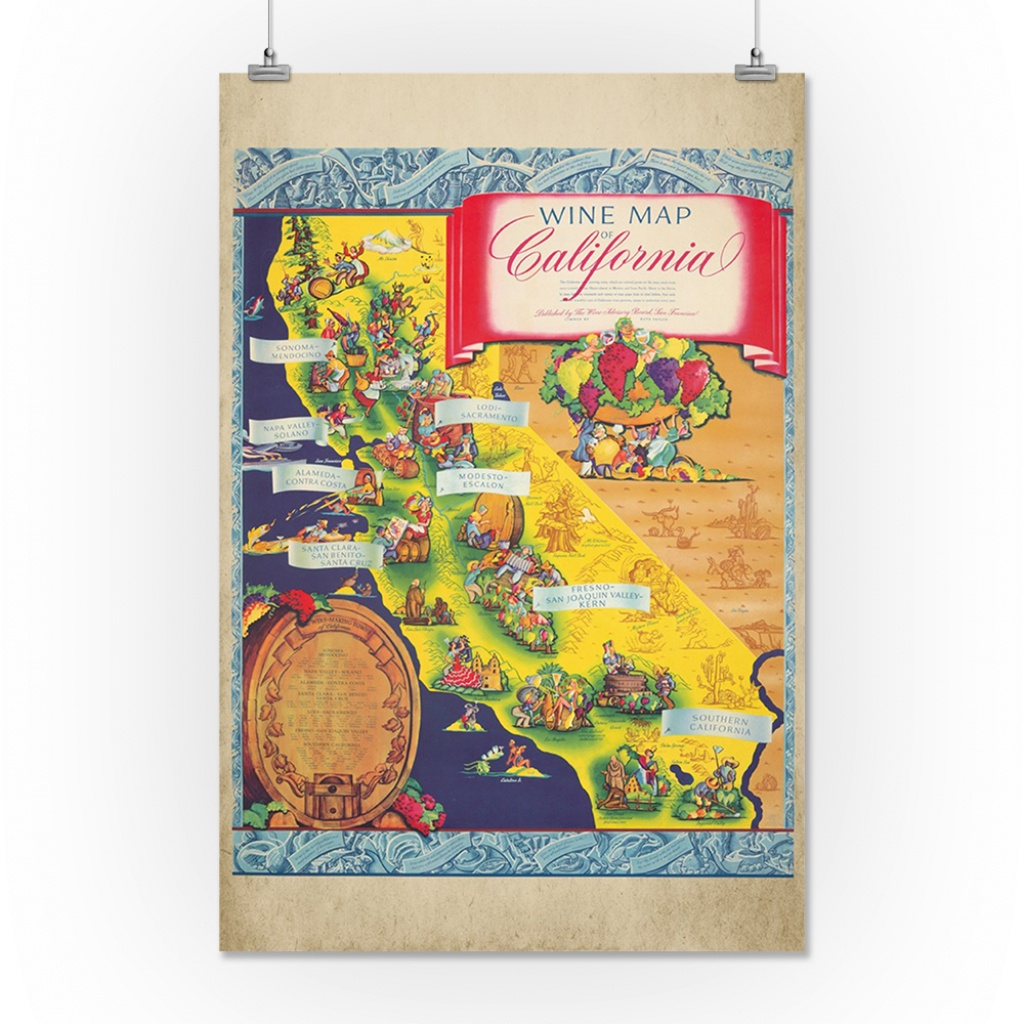 Wine Map Of California Vintage Poster (Artist: Taylor) Usa C. 1950 - California Wine Map Poster