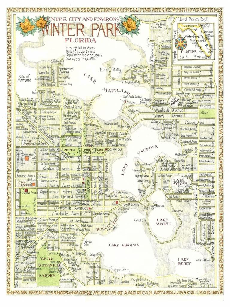 Winter Park, Florida Map 12X16 Print From Original Drawing. $25.00 - Orlando Florida Map