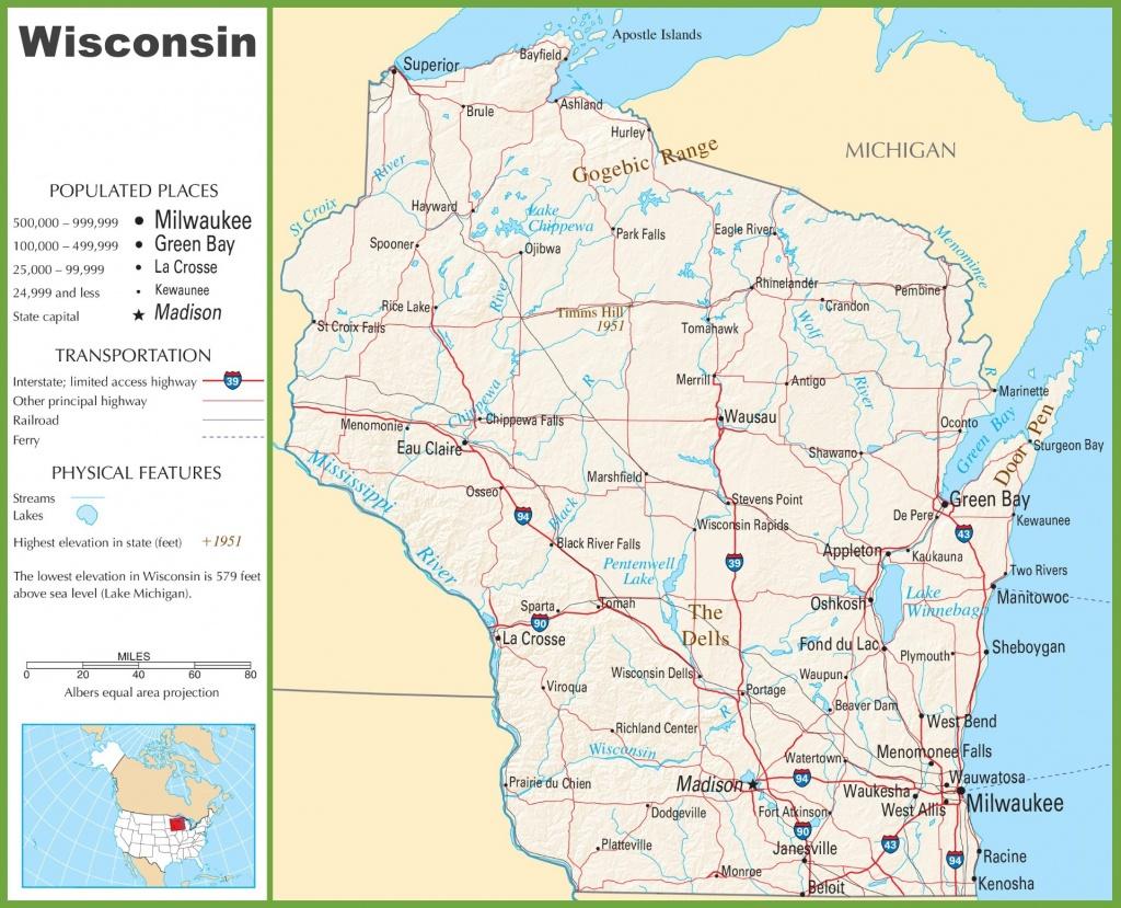 Wisconsin Highway Map - Printable Map Of Wisconsin