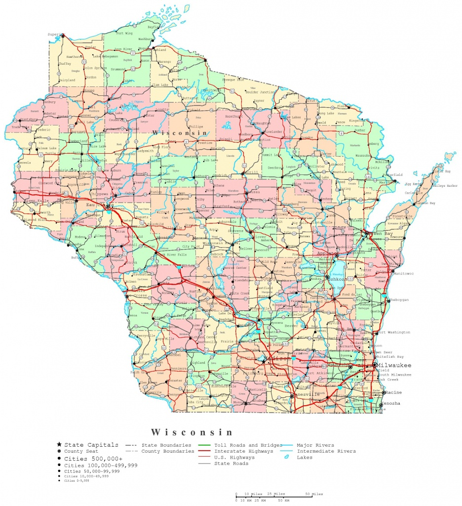 Wisconsin Printable Map - Wisconsin Road Map Printable