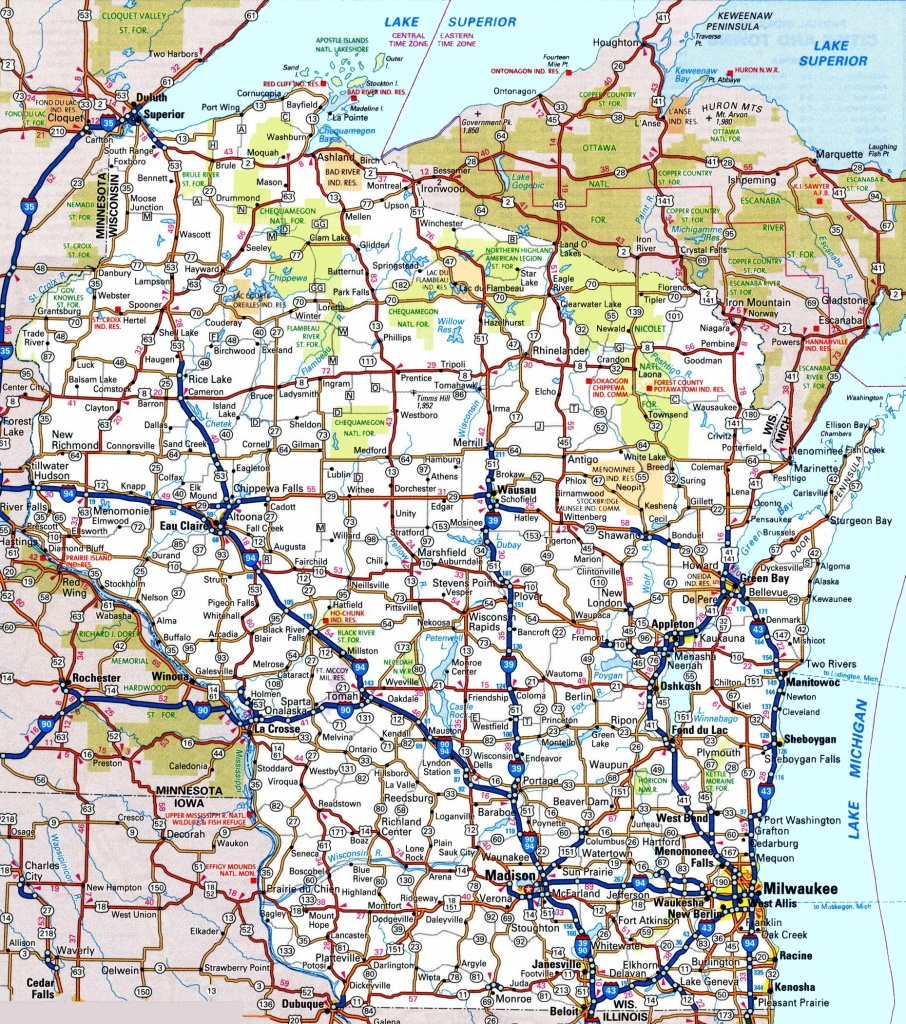 Wisconsin Road Map - Printable Map Of Wisconsin