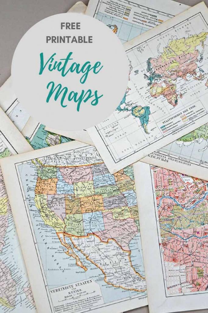 Wonderful Free Printable Vintage Maps To Download - Pillar Box Blue - Create Printable Map