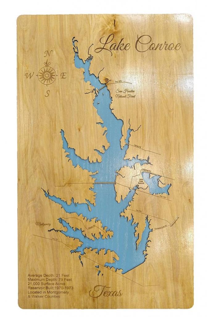 Wood Laser Cut Map Of Lake Conroe Texas Topographical | Etsy - Map Of Lake Conroe Texas