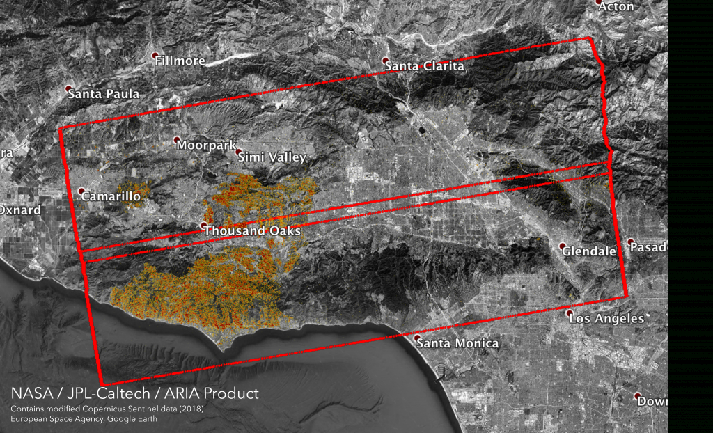 Woolsey Fire - Aria Damage Proxy Map V0.5 | Nasa Earth Science - California Fire Map Google