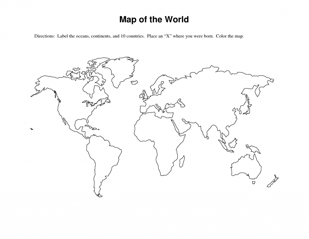 Worksheet : Blank World Map Printable Template For Students And Kids - Blackline World Map Printable Free