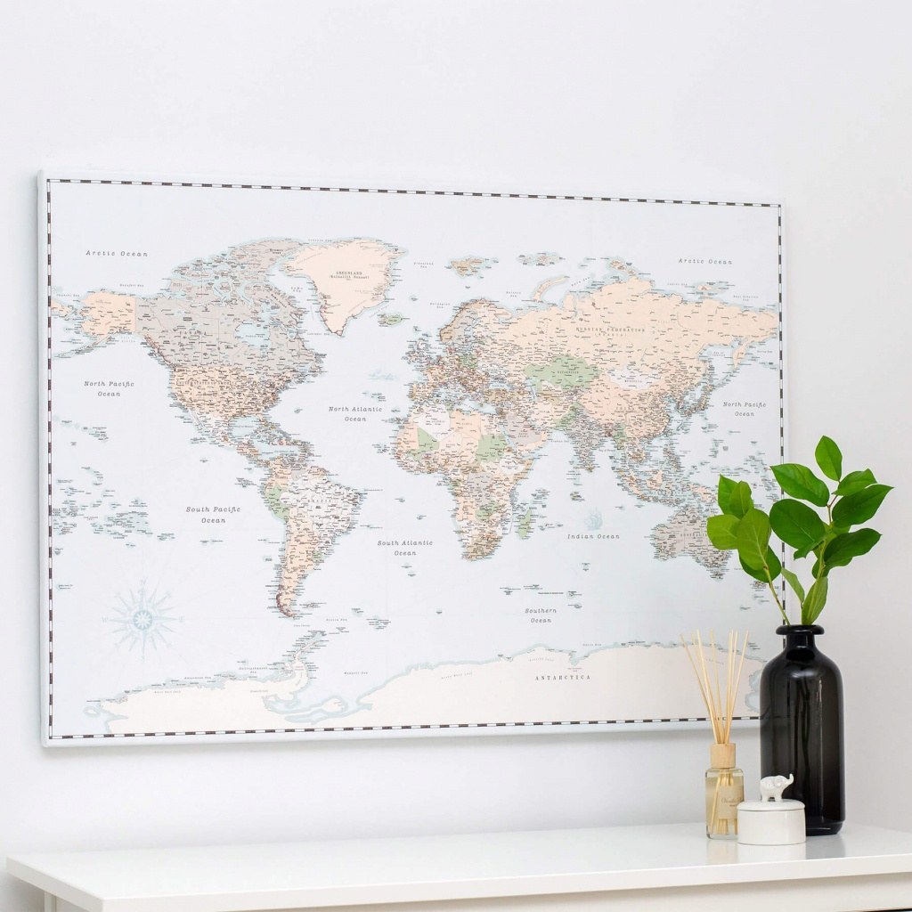 World Push Pin Map - Retro Light Blue (Detailed) - Push Pin Travel Maps - Printable Map With Pins