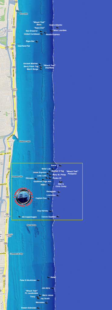 Wreck Diving Sites - South Florida Diving Headquarters - Florida Wreck Diving Map