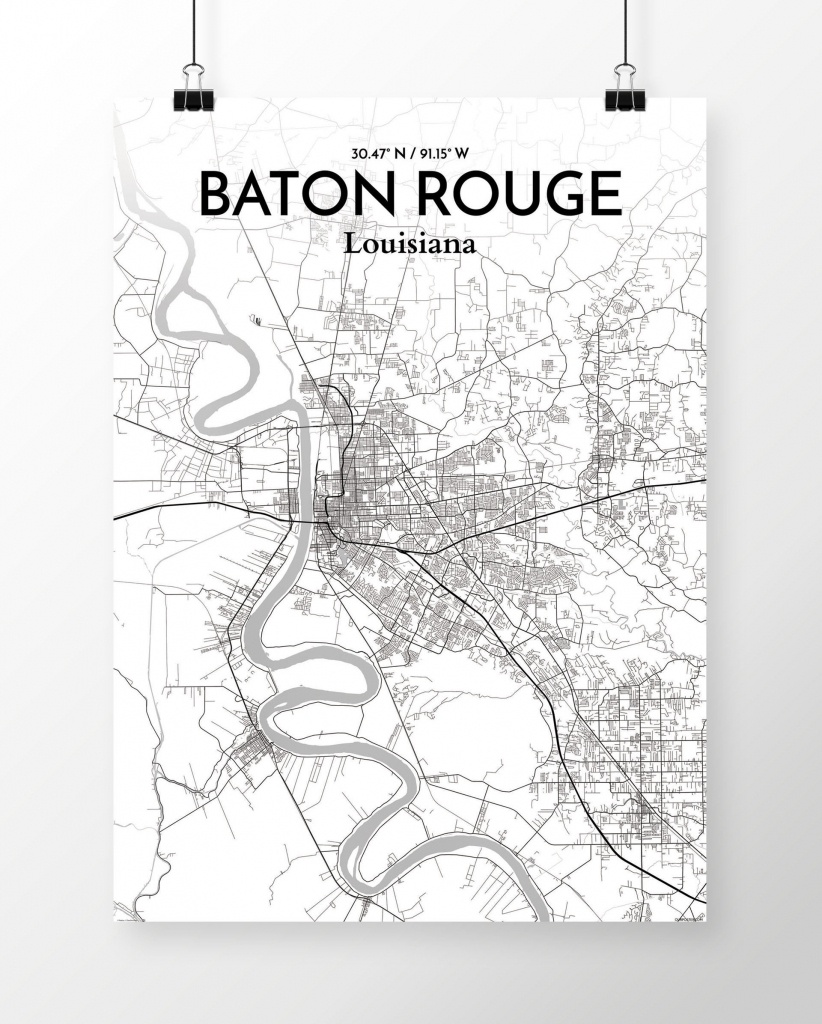 Wrought Studio 'baton Rouge City Map' Graphic Art Print Poster In - Printable Map Of Baton Rouge
