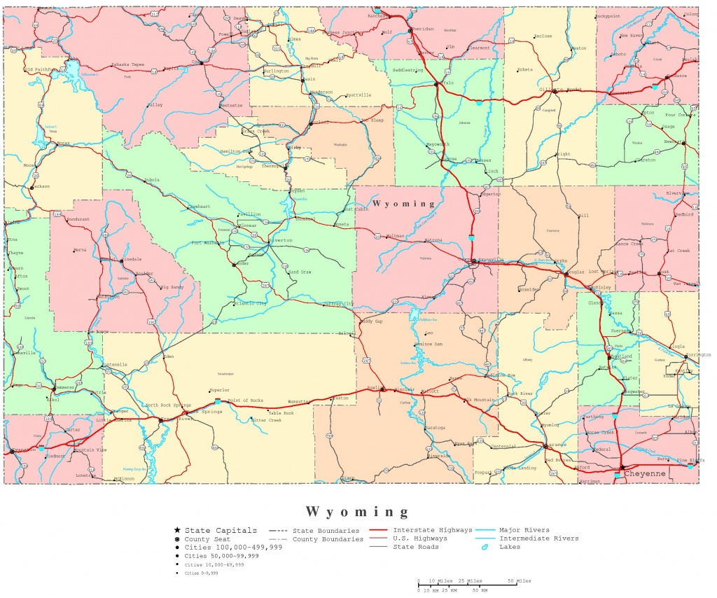 Wyoming Printable Map - Printable Road Map Of Wyoming