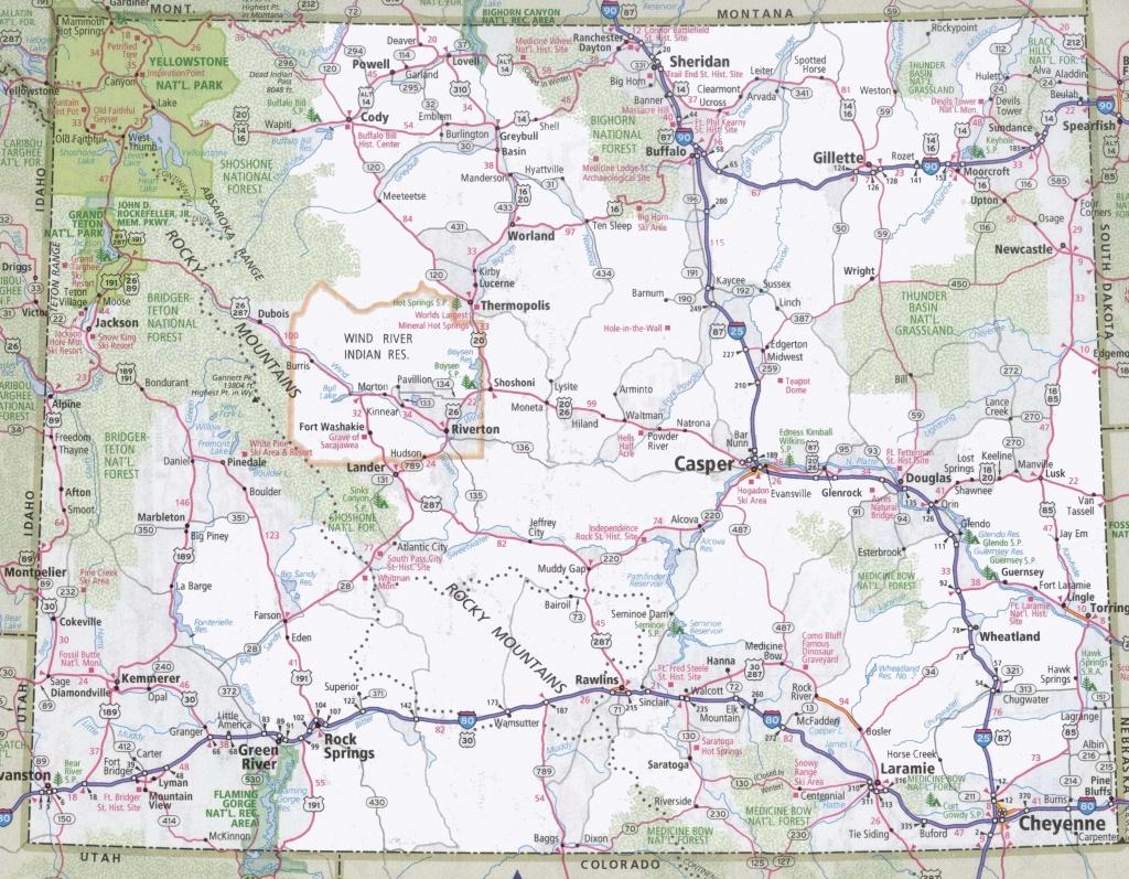 Wyoming Road Map - Printable Map Of Wyoming