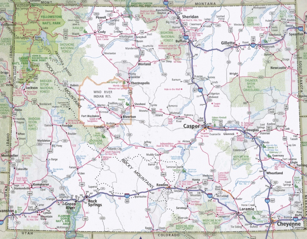 Wyoming Road Map - Printable Road Map Of Wyoming