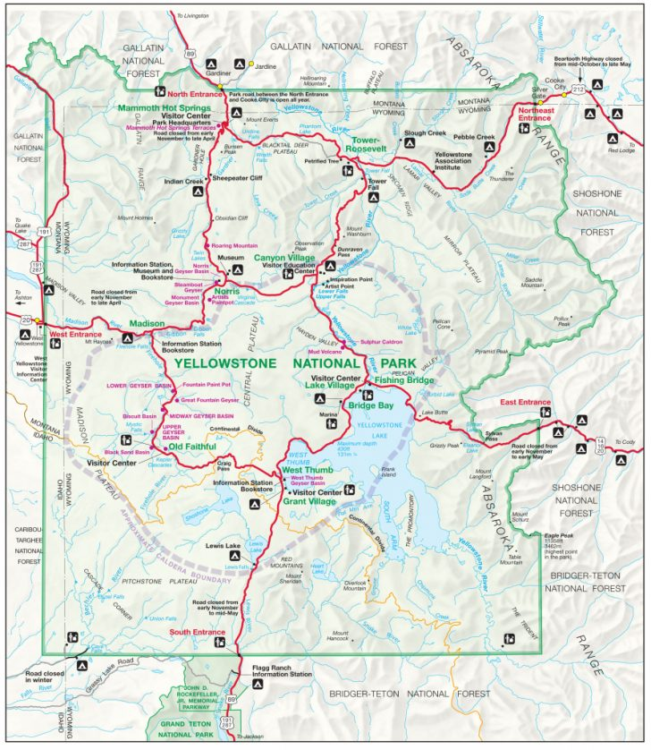 Printable Map Of Yellowstone