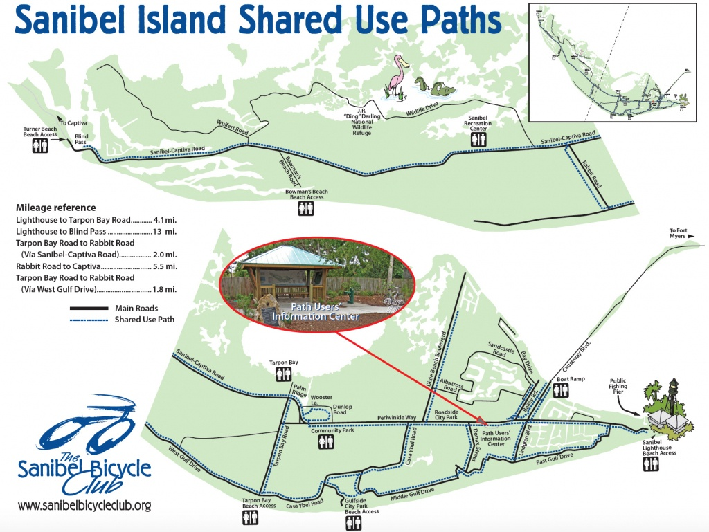 Your Guide To Sanibel Biking - Street Map Of Sanibel Island Florida