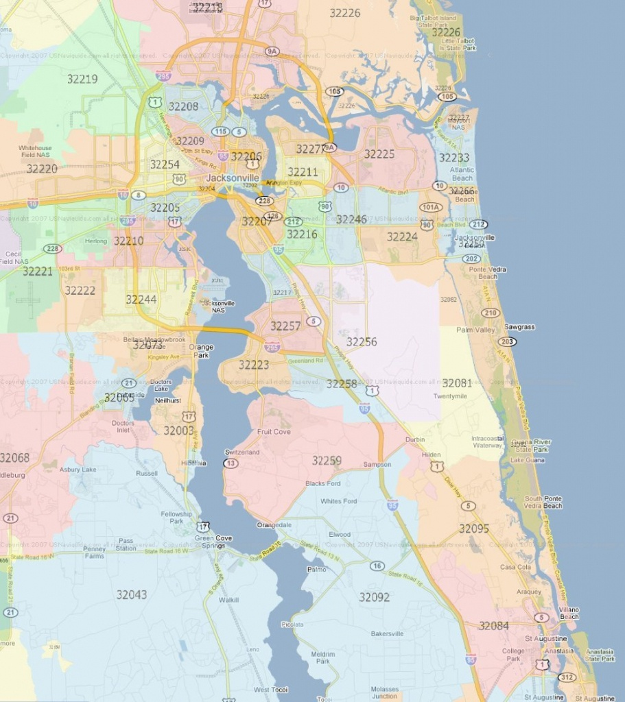 Zip Code Map Jacksonville Florida | Jacksonville Zip Codes - Central Florida Zip Code Map
