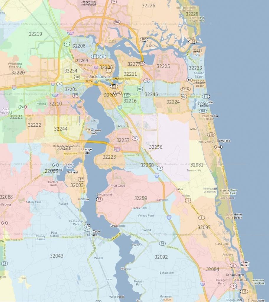 Zip Code Map Jacksonville Florida | Jacksonville Zip Codes - Fleming Island Florida Map
